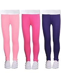 bf4deba0387194 Girls Stretch Leggings Tights Kids Pants Plain Full Length Children Trousers,  Age 4-13