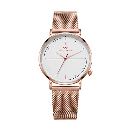 Welly Merck Rose Gold Womens Watch 36MM Minimalistic Swiss Quartz Movement Sapphire Crystal Ultra Thin Stainless Steel Wrist Watch with Interchangeable Mesh Strap,5ATM Water Resistant