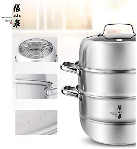 Zhang Xiao Quan Food Steamer Stainless Steel 3 Tier Steamer Pot with Handles on Both Sides, Boiler Pot with Tempered Glass Lid, Work with Gas, Electric, Grill Stove Top,28CM    Product Description
