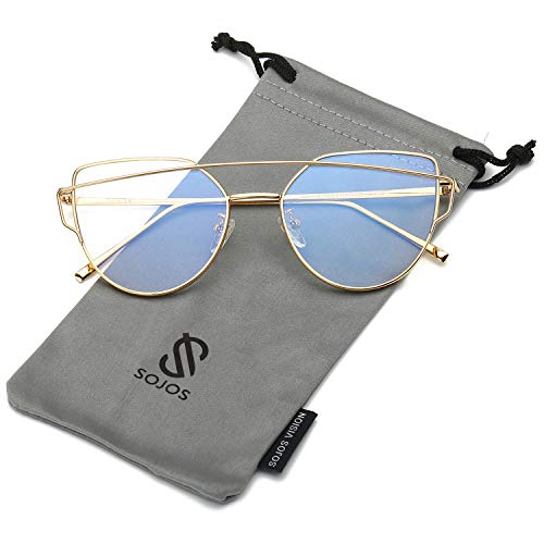 SOJOS Fashion Twin-Beams Metal Frame Cat Eye Women Clear Lens Glasses SJ1001 with Gold Frame/Clear Lens (Eye 2017 Cat Glasses)