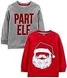 Simple Joys by Carter's Boys' Toddler 2-Pack Christmas Long-Sleeve Tees, Santa/Part Elf, 2T