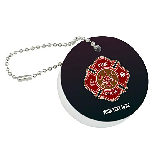 Graphics and More Personalized Custom 1 Line Firefighter Maltese Cross Fire Rescue Round Floating Foam Fishing Boat Buoy Key Float Keychain