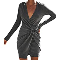 Star_wuvi Sexy Party Dresses Women's Casual V Neck Solid Long Sleeve Evening Party Cocktail Club Mini Bodycon Dress
