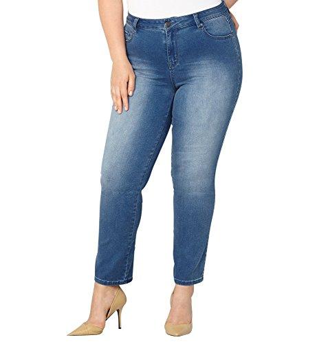-AVENUE Women's Butter Denim Straight Leg Jean in Med Wash 28-32, 32 Medium Wash