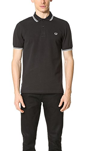 Fred Perry Men's Textured Panel Pique Shirt, Black - Pique Perry Fred Black
