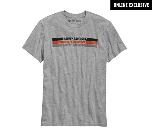 (Harley-Davidson Official Men's Vintage Stripe Slim Fit Tee, Grey (Large) )