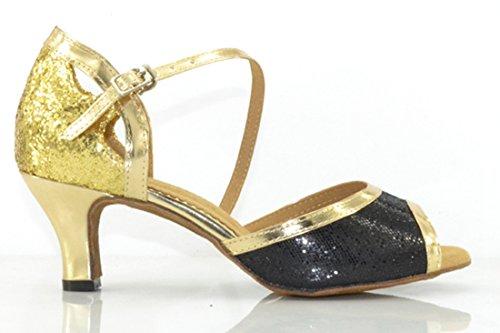 Tda Donna Comfort Cinturino Alla Caviglia Fibbia Peep Toe Glitter Mid Heel Salsa Moderna Scarpe Da Ballo Latino Oro
