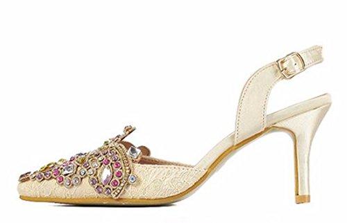 QIYUN.Z Sommer Frauen Spitzer Zehe Strass Knoechelriemchen Niedrigen Ferse Stilettos Sandalen Schuhe 1bxaNR