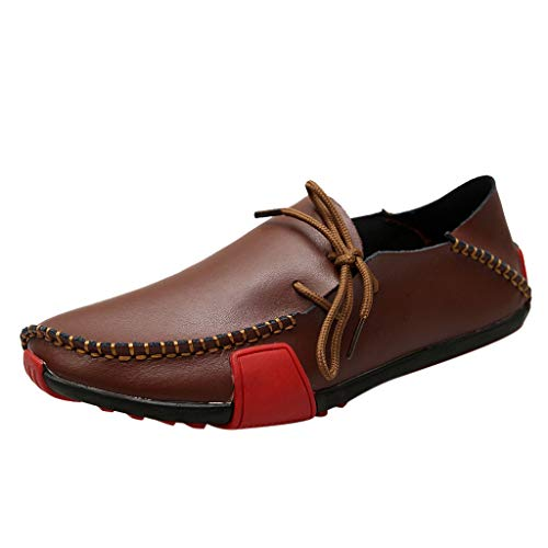 (Flat Loafers for Men,SMALLE◕‿◕ Casual Driving Shoes Leather Slip On Shoes Breathable Stitched Walking Shoes Mocassin Brown)