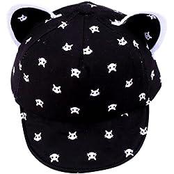 Voberry Toddler Baby Kids Boys Girls Cat Ears Baseball Hat Peak Cap Sun Hat (Black)