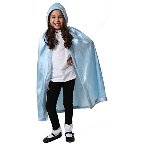 Cape Hooded Trim (Satin Cloak with Faux Fur Trim (Blue))