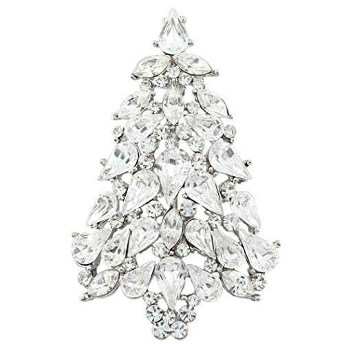 EVER FAITH Party Christmas Tree Teardrop Clear Austrian Crystal Brooch Pin Silver-Tone