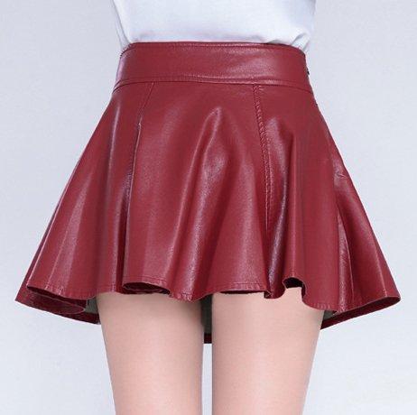 Helan Mujeres Cuero de la PU falda plisada Rojo