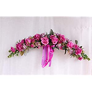 """YJBear European Artificial Wreath for The Front Door Silk Flower Wedding Party Christmas Decor Home Decoration Wall Decor Wall Hanging with Silk Ribbon 24.4"""" W X 5.9"""" H 24"""