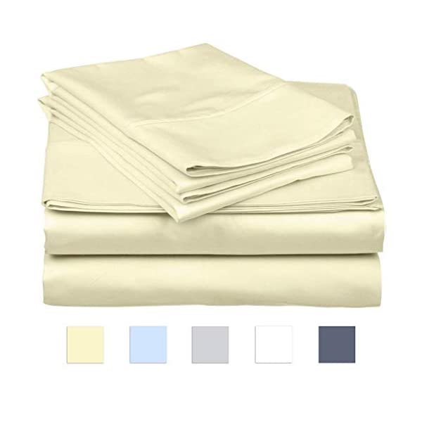 SanCozy Bed Sheets Set, 400 Thread Count, 4 Piece Set, Ivory, Full, Sateen Weave,100% Premium Long Staple Combed Cotton, Breathable, Fade Resistant, Deep Pocket Fits up to 18 inches