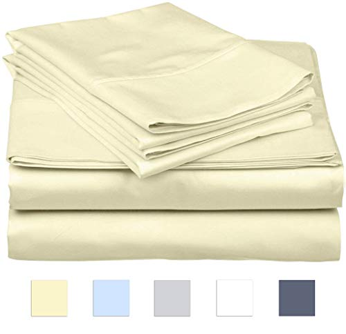 SanCozy 400 Thread Count Sheet Set, 4 Piece Set, Cotton, Californai King Size,Ivory,Sateen Weave Bedsheet, Breathable, Fits up to 18 inches deep mattresses ()