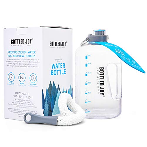 BOTTLED JOY 1 Gallon Water Bottle, BPA Free Big Bottle Jug with Time Marker Leak-Proof Reusable Drinking Water Bottle for Camping Sports Workouts and Outdoor Activity