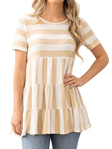 Epuyaito Women Stripe Print Round Neckline Ruching Short Sleeve Drop Waist Blouse Tops Yellow