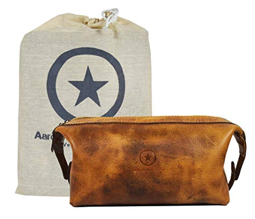 - Leather Toiletry Bag for Men | Grooming Travel Kit | With Waterproof Lining | By Aaron Leather Goods (Caramel)