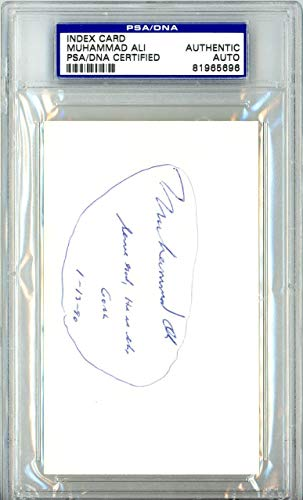 "Muhammad Ali Autographed 3x5 Index Card""Serve God"" 81965696 - PSA/DNA Certified - Boxing Cut Signatures"