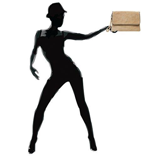 With Clutch Wrist Tl769 And Caspar Suede Ladies Beige Bag Evening Zip Envelope Strap zv0dqInwd