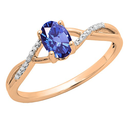 Dazzlingrock Collection 10K 7X5 MM Oval Tanzanite & Round White Diamond Bridal Engagement Promise Ring, Rose Gold, Size 5 ()