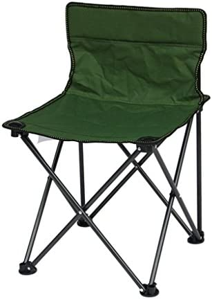 折りたたみ椅子屋外キャンプ用ビーチ釣りレジャー背もたれ椅子ポータブル折り畳み式椅子収納袋 (Color : Green)