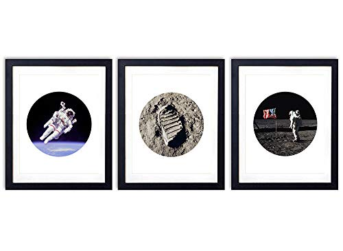 (Moon Walk Unframed Wall Art Prints - Set of Three - Great Gift For Kids Rooms, Future Astronauts and Home Decor - Ready to Frame (8x10) Photos)