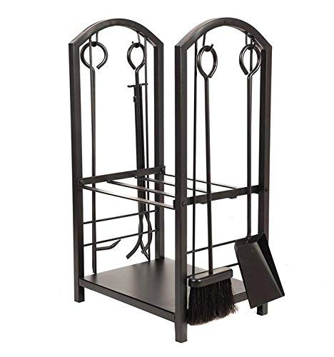 Lizh Metalwork Wrought Iron Log Rack with Fireplace Tools,Black