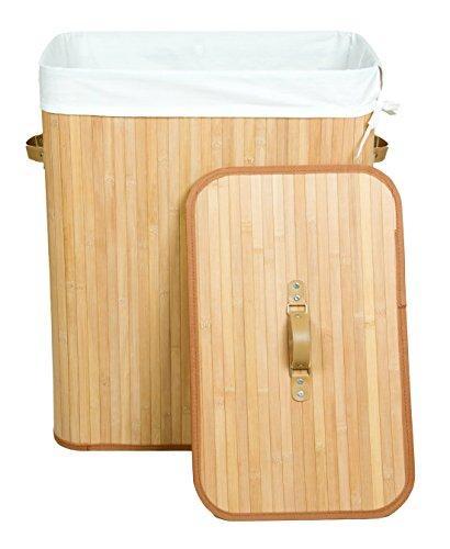 Kronenburg Bambus Wäschekorb Wäschesammler mit Deckel, Fassungsvermögen 100 L - 62,5 x 52 x 32 cm, Natur