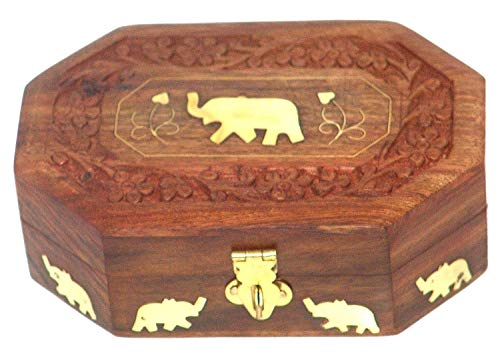 YADNESH Wooden Jewelry Box Octagonal Handcrafted Elephant Brass Inlay & Wood Carvings Handmade Wooden Jewellery Box for Women Jewel Organizer Elephant Décor, 6 Inches (Handcrafted Wooden Jewelry Boxes)