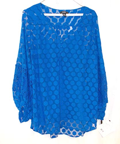 (Alfani Cobalt Blue Polka Dot Lace Inset Sheer Long Sleeve Pullover Top Cami 2 Piece Set XL NWT)