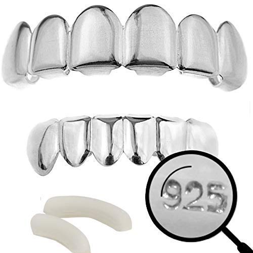 Harlembling Solid 925 Sterling Silver Real Grillz - Custom Top & Bottom Grills for Teeth - Real Solid Silver NOT Plated (Bottom Grillz)