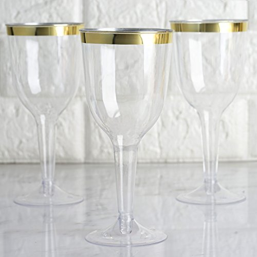 BalsaCircle 36 pcs 6 oz Clear with Gold Rim Plastic Champagne Flutes Glasses - Disposable Wedding Party Catering Tableware
