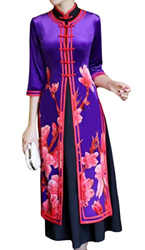 Cheongsam Vogue Side Tunic 12 Printed Women Pieces Slit Coolred Floral 2 xU8zw5q
