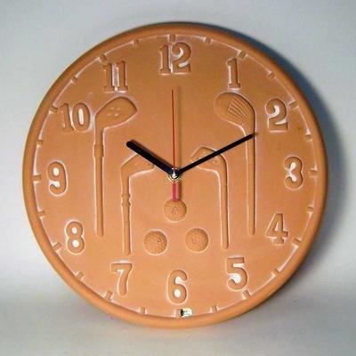 CLUBHOUSE Terracotta Golf 12-Inch Indoor/Outdoor Clock