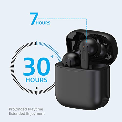 True Wireless Earbuds with Build-in Mic, Bluetooth 5.0 Active Noise Cancelling in-Ear Earphone with Touch Control, Waterproof IPX7, 30H Playtime with Wireless Charging Case, Type-C Quick Charge
