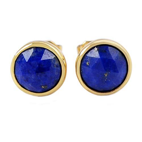 ZENGORI 1 Pair 9x9MM Gold Plated Round Lapis Lazuli Post Studs Earrings Bezel Setting