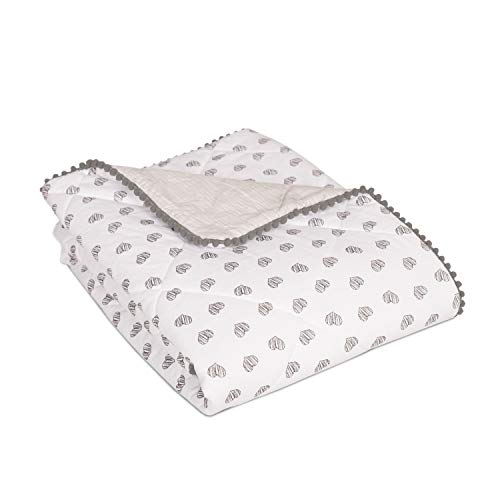 Living Textiles Toddler Quilted Blanket with Pom Pom Trim. (Sketched Hearts Print).