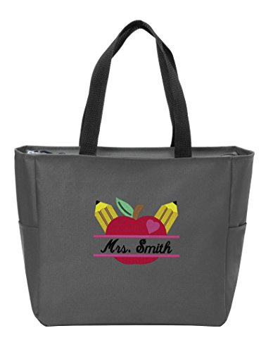 All About Me Company Zip Tote   Personalized Teacher Apple Monogram Shoulder Bag (Dark Charcoal)