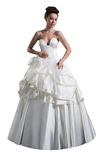 Vogue007 Womens Strapless Taffeta Satin Pongee Wedding Dress, ColorCards, 16 by Unknown