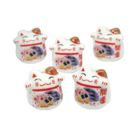 Jzcky Shzrp Ceramic Beads with Lucky Cat Pattern for Making Pendant Etc.(10pcs)(luckiness) - Cat Beads