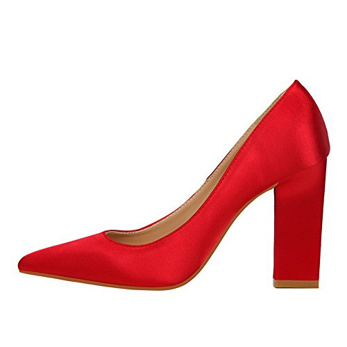 Amoonyfashion Kvinnor Blandningsmaterial Pekade-toe Kick-häl Pådrag Pumpar-shoes Röda