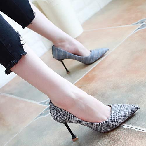 KPHY Tacchi Colori Scarpe Moda donna Magro Scarpe Scarpe Magro Sottile da Da Semplici 36 Superficiale Scarpe Gray La 8Cm Ha Alti Autunno Donna Dei E xrUwqxad