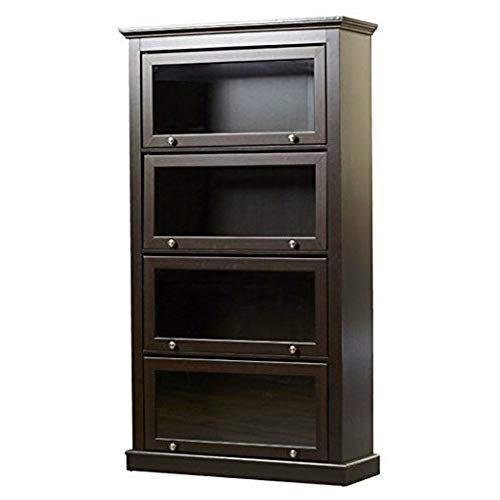 Espresso Barrister Glass Door Bookcase Bookshelf Wooden Cabinet Display Tall Office Lawyers Home 4 Shelves Storage Office Supplies Books Accent Cabinet Free Standing Organizer Furniture &eBook by BADA