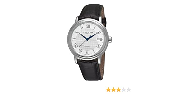 dca63a6bc Amazon.com: Raymond Weil Men's 'Maestro' Swiss Automatic Stainless Steel  and Leather Casual Watch, Color:Black (Model: 2837-STC-00308): Raymond Weil:  ...