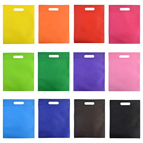 60 Pcs Party Favor Gift Bags with Handles, Wobe 12 Colors 9.6 by 11.6
