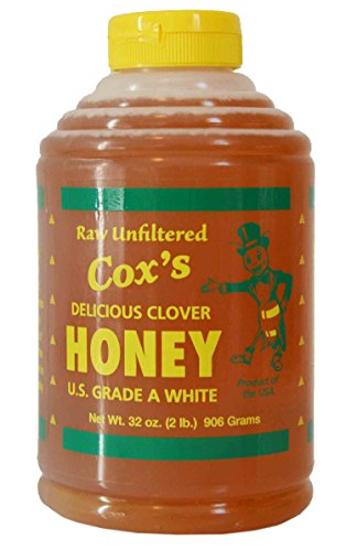 Cox's Raw Honey - Unfiltered Liquid Honey | 100% Pure Clover Delicious Honey, 32 - Honey Liquid Unpasteurized