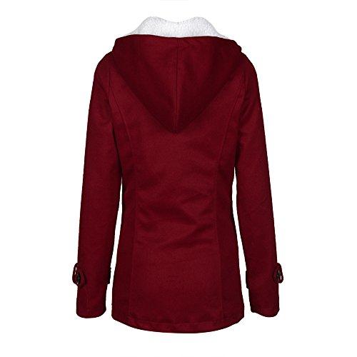 Cálido Color Artificial Mymyg Pullover Con Chaqueta Invierno Sólido Mujer Cardigan Otoño Rompevientos Rojo Lana Para Sudadera Capucha Abrigo Outwear X4BqBwInA7