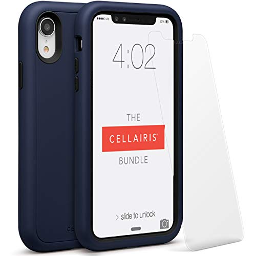 CELLAIRIS- Compatible with iPhone XR Case,Clear Anti-Scratch Shock Absorption Cover Case for iPhone XR with Tempered Glass Screen Protector. Offers Extra Protection and Scratch Resistant and Soft